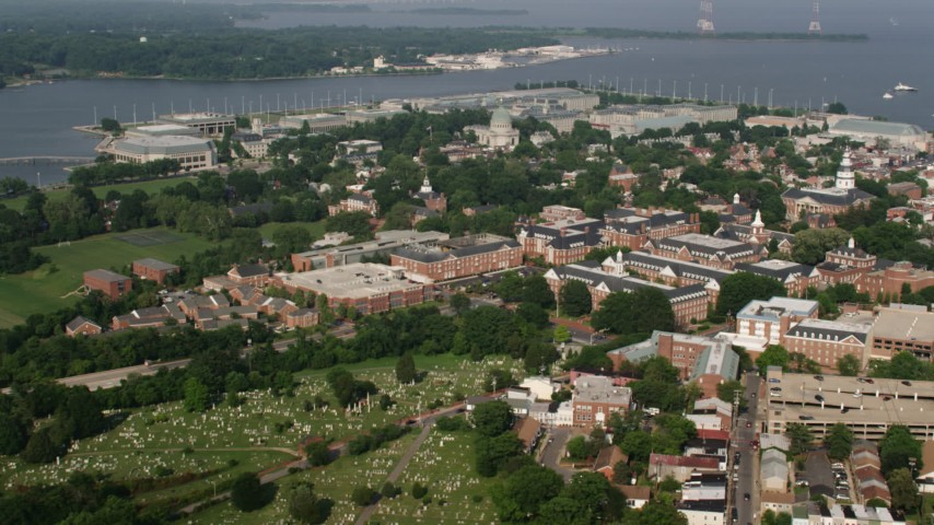 5K aerial video flying over state government buildings to approach United States Naval Academy, Annapolis, Maryland Aerial Stock Footage | AX73_024