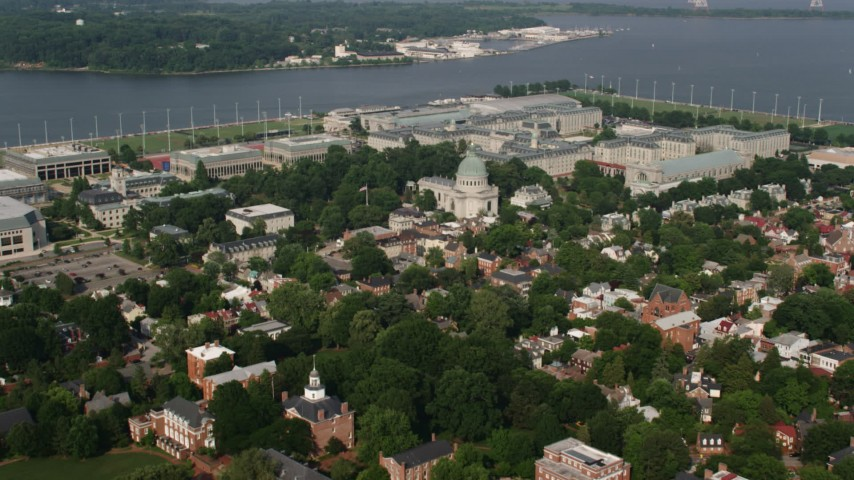 5K stock footage aerial video flying over The Chapel to approach Bancroft Hall at US Naval Academy, Annapolis, Maryland Aerial Stock Footage | AX73_025