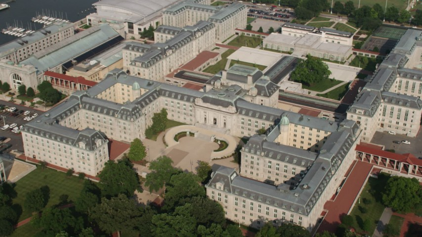 5K stock footage aerial video of Bancroft Hall and Tecumseh Court at US Naval Academy, Annapolis, Maryland Aerial Stock Footage | AX73_026