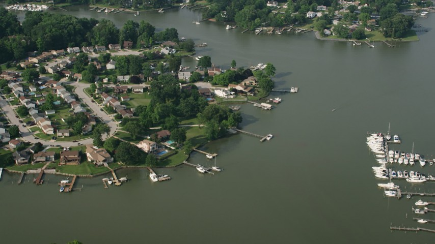 5K stock footage aerial video of riverfront homes by Sue Creek in Baltimore, Maryland Aerial Stock Footage | AX73_047