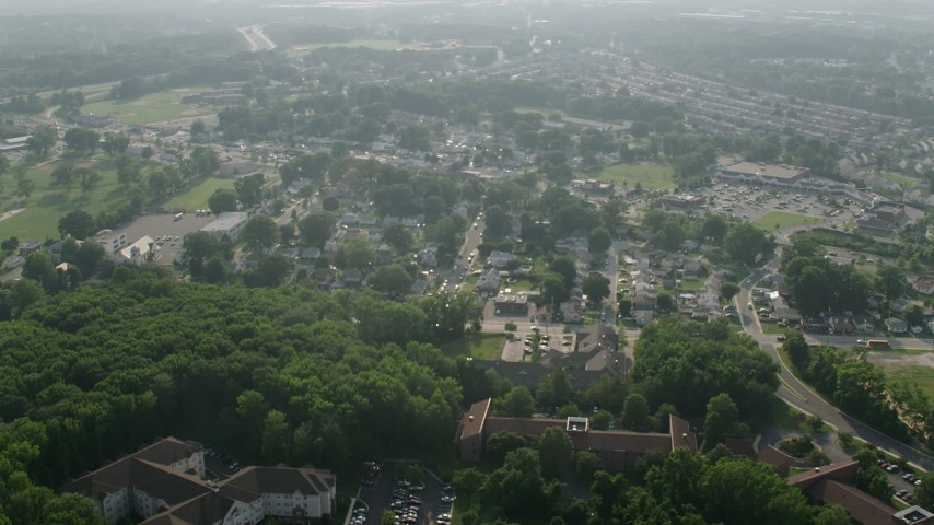 5K stock footage aerial video of a small suburban neighborhood in Essex, Maryland Aerial Stock Footage | AX73_053