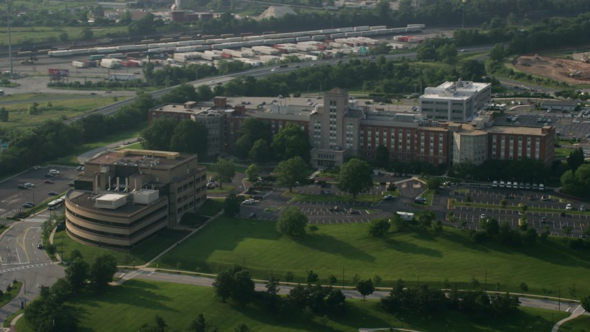 5K stock footage aerial video of Mason F. Lord Building at Johns Hopkins Bayview Medical Center in Baltimore, Maryland Aerial Stock Footage | AX73_061