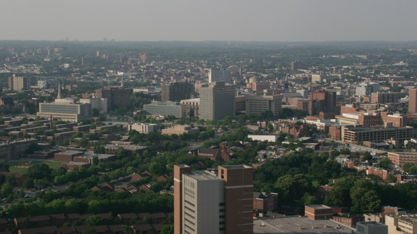 5K stock footage aerial video of office buildings and public housing in Baltimore, Maryland Aerial Stock Footage | AX73_072