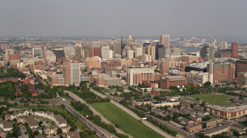 5K stock footage aerial video of skyscrapers in Downtown Baltimore, Maryland Aerial Stock Footage | AX73_073