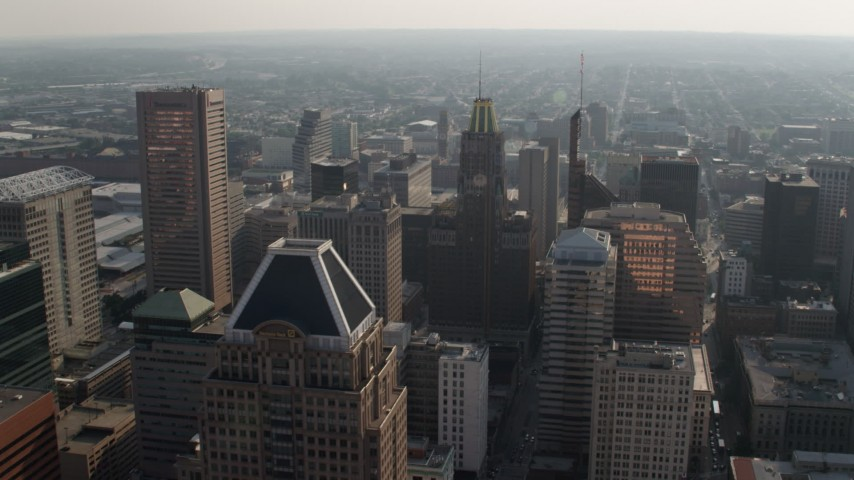 5K aerial video of Transamerica Tower, Bank of America Building, and top of Schaefer Tower, Downtown Baltimore, Maryland Aerial Stock Footage | AX73_088