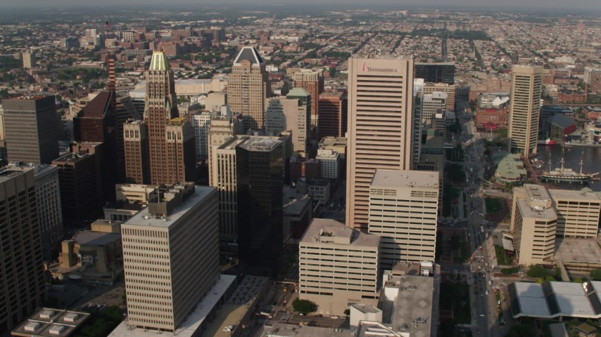 5K aerial video of skyscrapers in Downtown Baltimore, Maryland Aerial Stock Footage | AX73_092