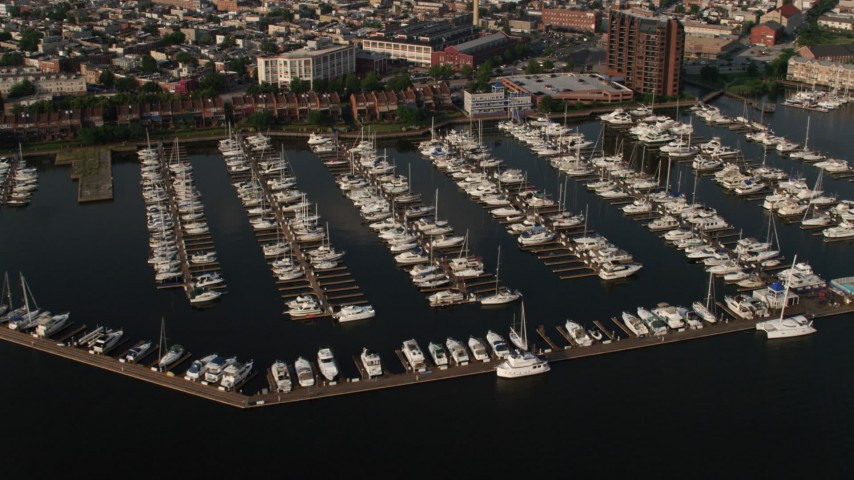 5K aerial video of boats docked at Anchorage Marina in Baltimore, Maryland Aerial Stock Footage | AX73_097