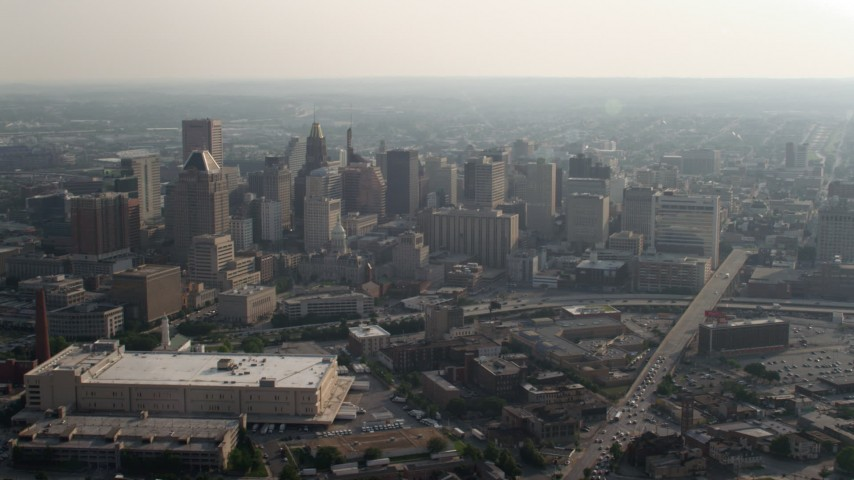 5K stock footage aerial video of Downtown Baltimore skyscrapers around Baltimore City Hall, Maryland Aerial Stock Footage | AX73_103