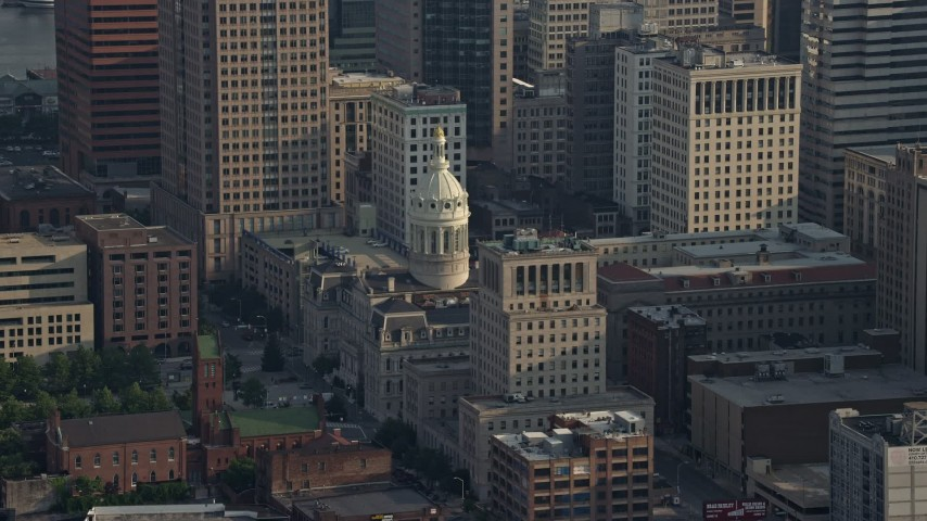 5K aerial video of Baltimore City Hall in Maryland Aerial Stock Footage | AX73_104