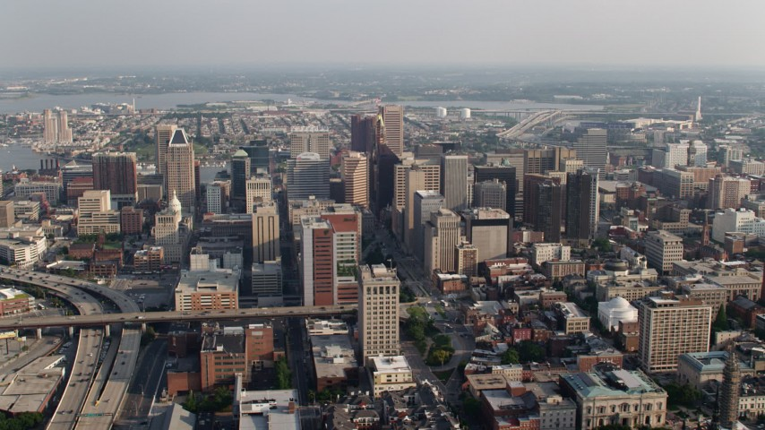 5K aerial video of a view of Downtown Baltimore skyscrapers in Maryland Aerial Stock Footage | AX73_105