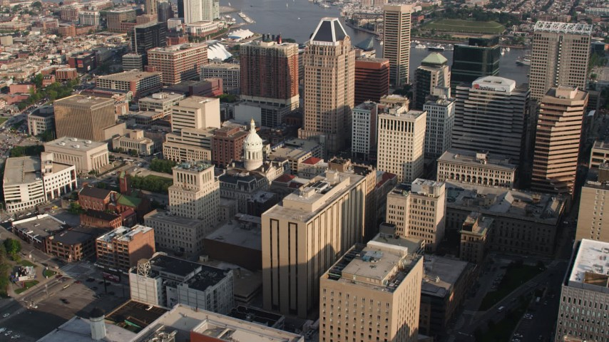 5K aerial video flying Baltimore City Hall in Downtown Baltimore, Maryland Aerial Stock Footage | AX73_108