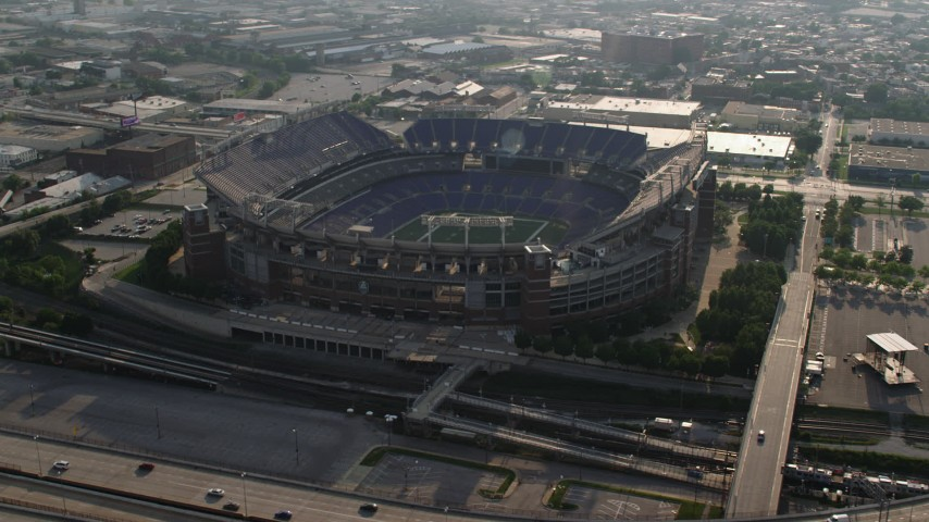 5K stock footage aerial video flying the M&T Bank Stadium in Baltimore, Maryland Aerial Stock Footage | AX73_112