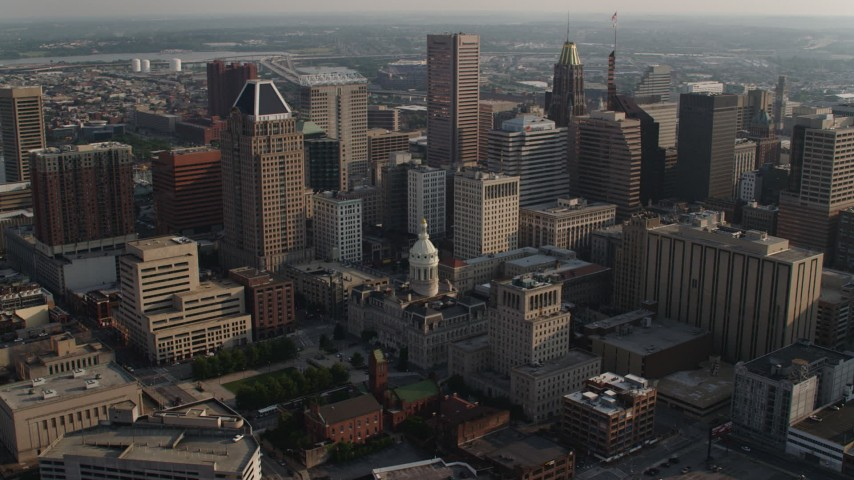 5K stock footage aerial video of City Hall and skyscrapers in Downtown Baltimore, Maryland Aerial Stock Footage | AX73_121