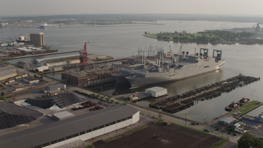 5K stock footage aerial video of Naval warships docked on the Patapsco River in Baltimore, Maryland Aerial Stock Footage | AX73_143