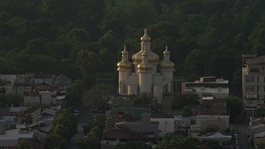 5K stock footage aerial video of St. Michael's Ukrainian Church in Baltimore, Maryland Aerial Stock Footage | AX73_150