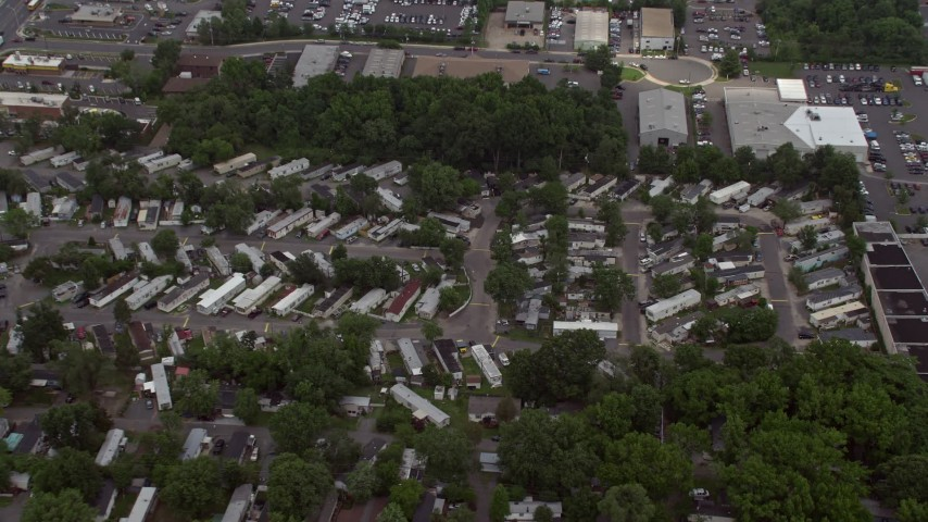 5K stock footage aerial video of a bird's eye view of a trailer park in Manassas, Virginia Aerial Stock Footage | AX74_005