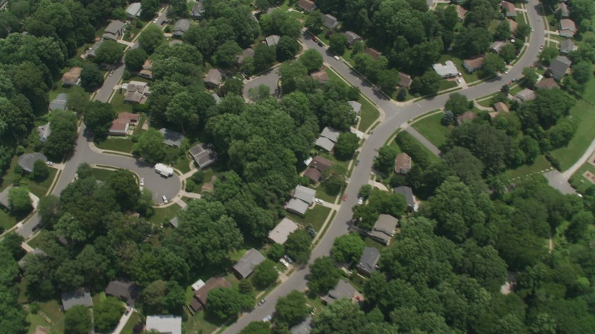 5K aerial video of a bird's eye view of a residential neighborhood in Fairfax, Virginia Aerial Stock Footage | AX74_016