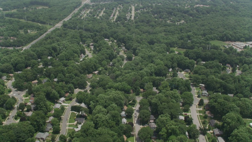 5K stock footage aerial video flying over residential suburbs in Springfield, Virginia Aerial Stock Footage | AX74_017