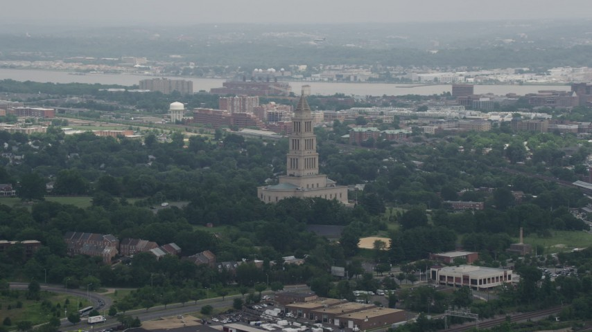5K aerial video of the George Washington Masonic National Memorial in Alexandria, Virginia Aerial Stock Footage | AX74_026