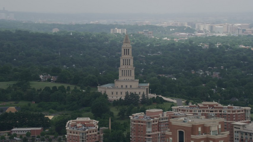 5K stock footage aerial video of The George Washington Masonic National Memorial in Alexandria, Virginia Aerial Stock Footage | AX74_027