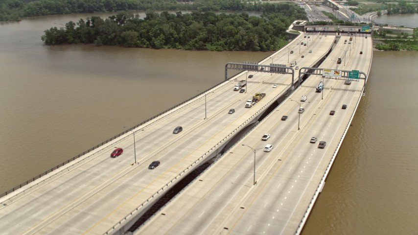5K aerial video of light traffic on the Woodrow Wilson Memorial Bridge over the Potomac River Aerial Stock Footage | AX74_030