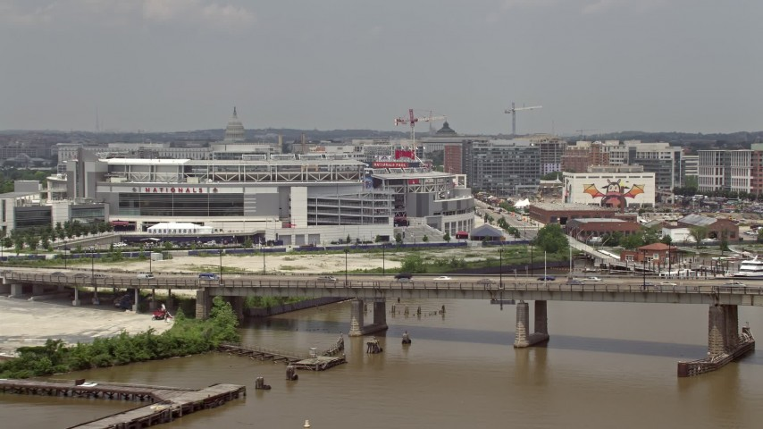 5K stock footage aerial video of Nationals Park seen from the river in Washington DC Aerial Stock Footage | AX74_037