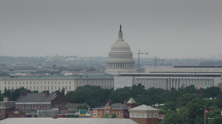 5K stock footage aerial video of the United States Capitol and Dome in Washington DC Aerial Stock Footage | AX74_039