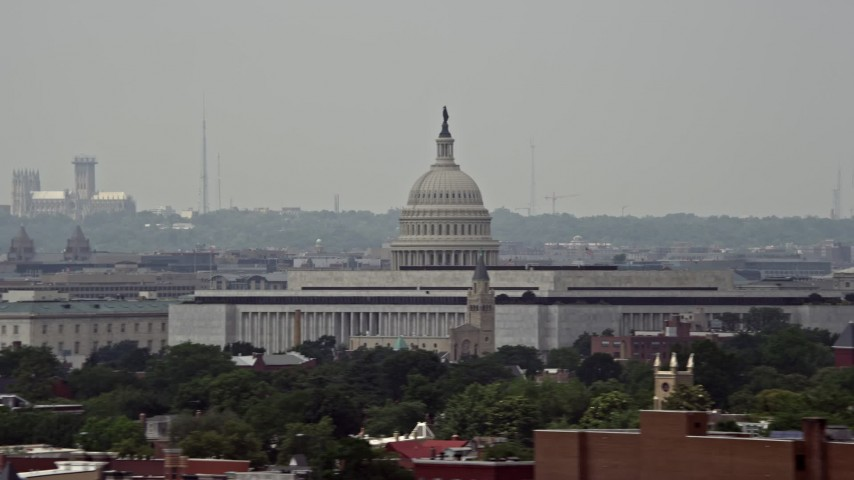5K stock footage aerial video of the United States Capitol Building and Dome in Washington DC Aerial Stock Footage | AX74_040