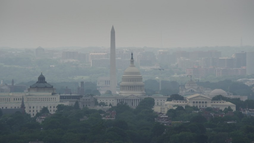 5K stock footage aerial video of the United States Capitol, Supreme Court, and National Mall Monuments in Washington DC Aerial Stock Footage | AX74_046