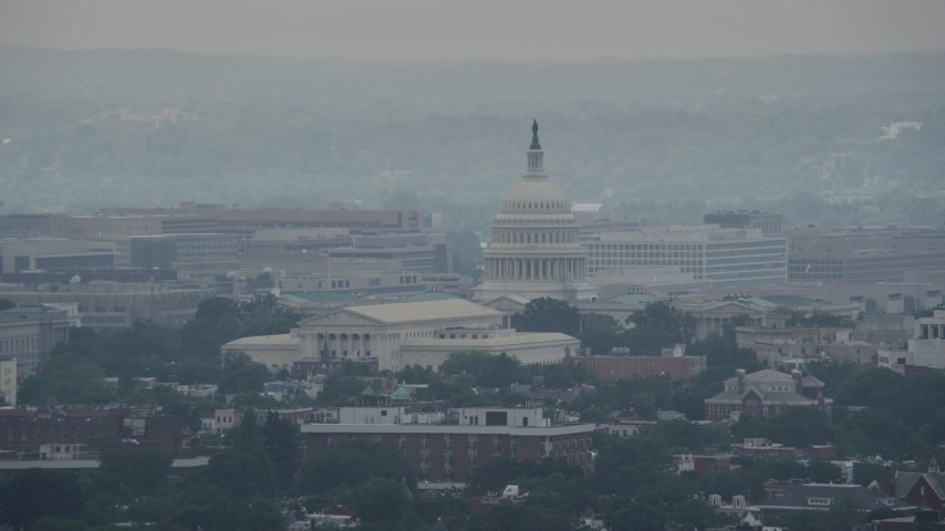5K stock footage aerial video of the Supreme Court and the United States Capitol in Washington DC Aerial Stock Footage | AX74_052