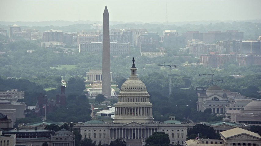 5K stock footage aerial video of the United States Capitol and Supreme Court, reveal National Mall Monuments in Washington DC Aerial Stock Footage | AX74_054