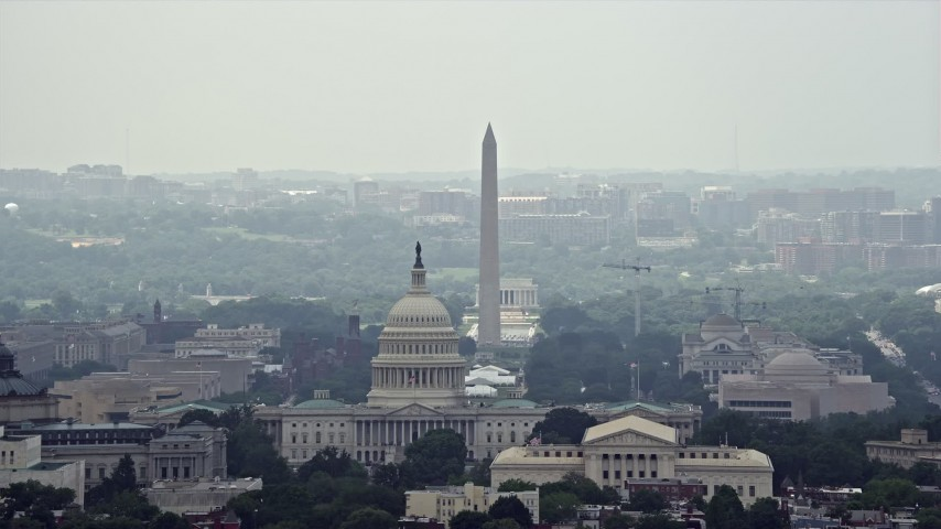 5K aerial video of the United States Capitol and the National Mall in Washington DC Aerial Stock Footage AX74_055