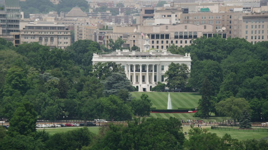 5K stock footage aerial video of The White House and South Lawn in Washington DC Aerial Stock Footage | AX74_070