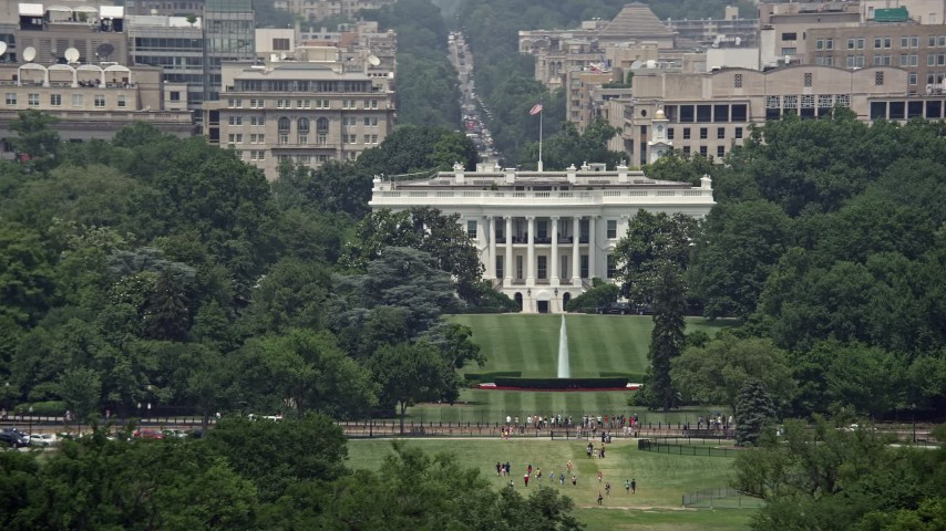 5K stock footage aerial video of The White House and South Lawn in Washington DC Aerial Stock Footage | AX74_070E
