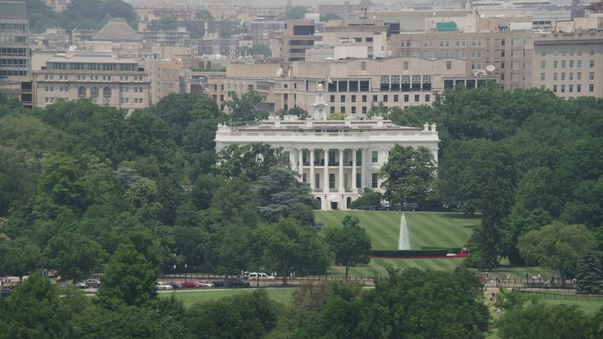 5K stock footage aerial video of The White House and the South Lawn in Washington DC Aerial Stock Footage | AX74_071