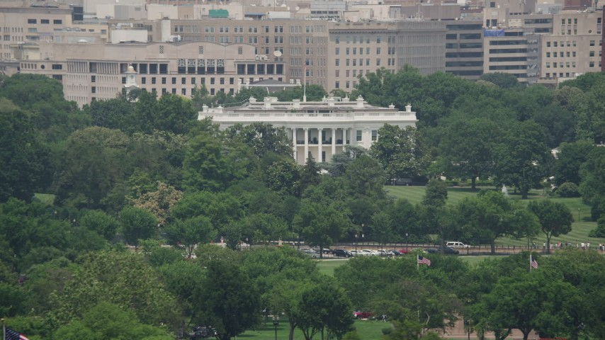 5K stock footage aerial video of The White House and trees in Washington DC Aerial Stock Footage | AX74_072