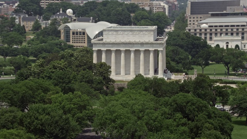 5K stock footage aerial video of the south side of the Lincoln Memorial in Washington DC Aerial Stock Footage | AX74_073