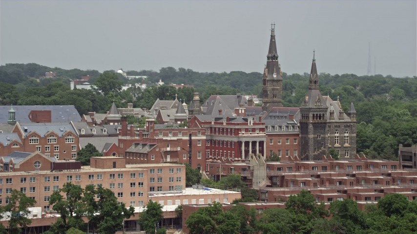 5K aerial video of Georgetown University Buildings in Washington DC Aerial Stock Footage | AX74_082