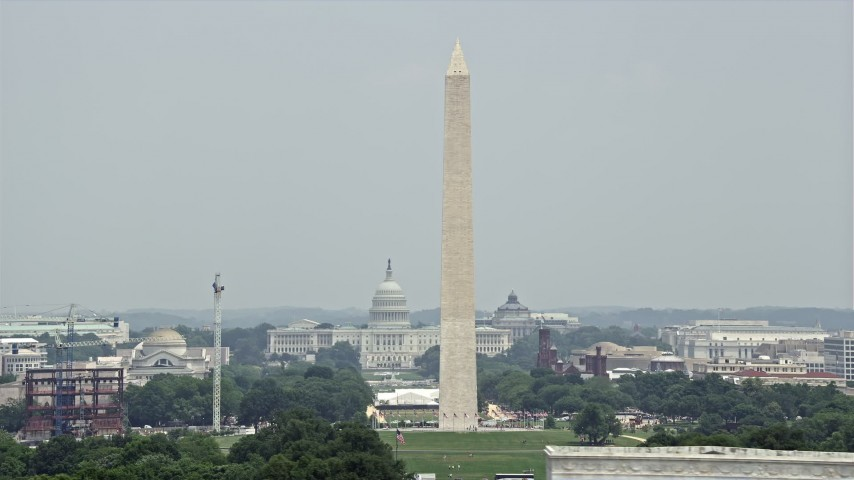 5K stock footage aerial video of Washington Monument and United States Capitol in Washington DC Aerial Stock Footage | AX74_085E