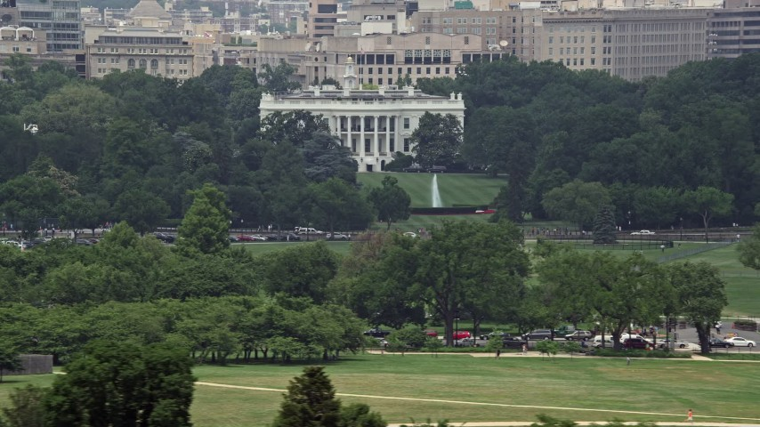 5K stock footage aerial video of The White House and the South Lawn in Washington DC Aerial Stock Footage | AX74_087