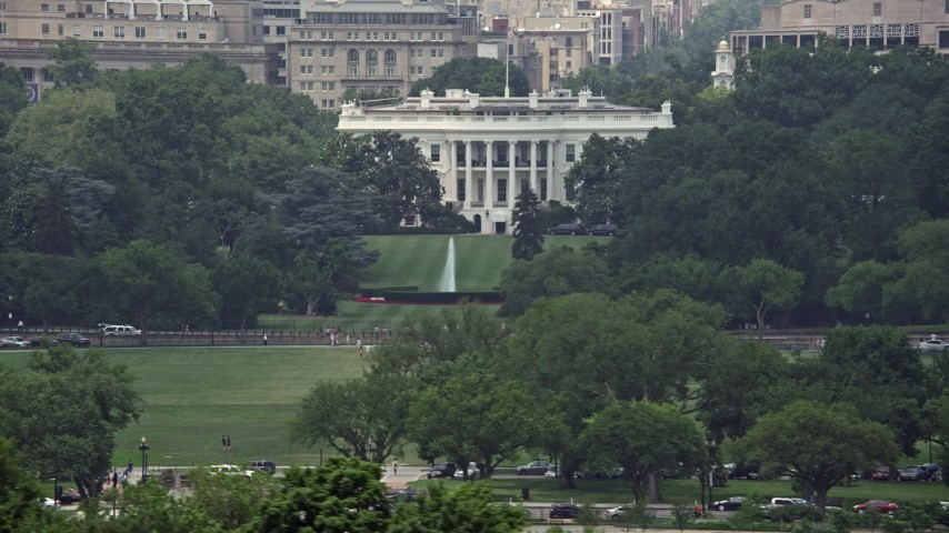 5K stock footage aerial video of The White House and South Lawn Fountain in Washington DC, revealing Washington Monument Aerial Stock Footage | AX74_088