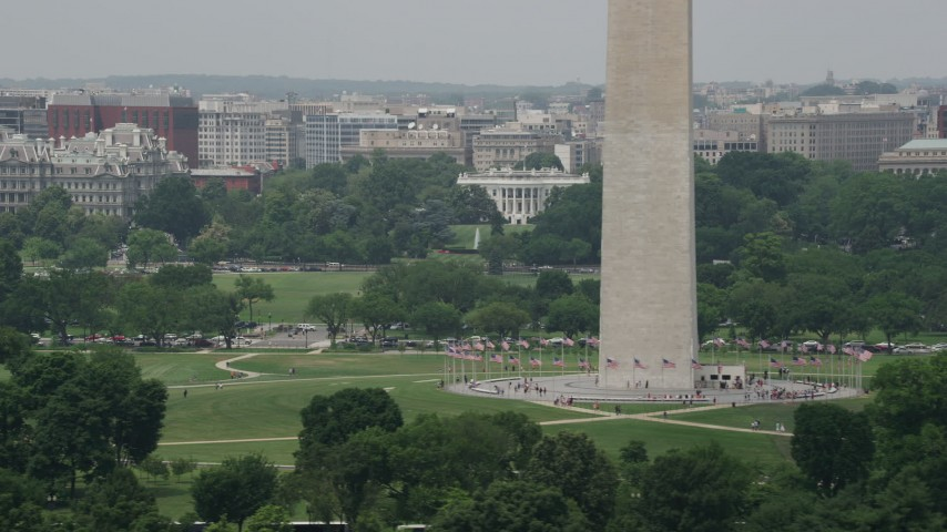 5K stock footage aerial video of the The White House and Washington Monument in Washington DC Aerial Stock Footage | AX74_094