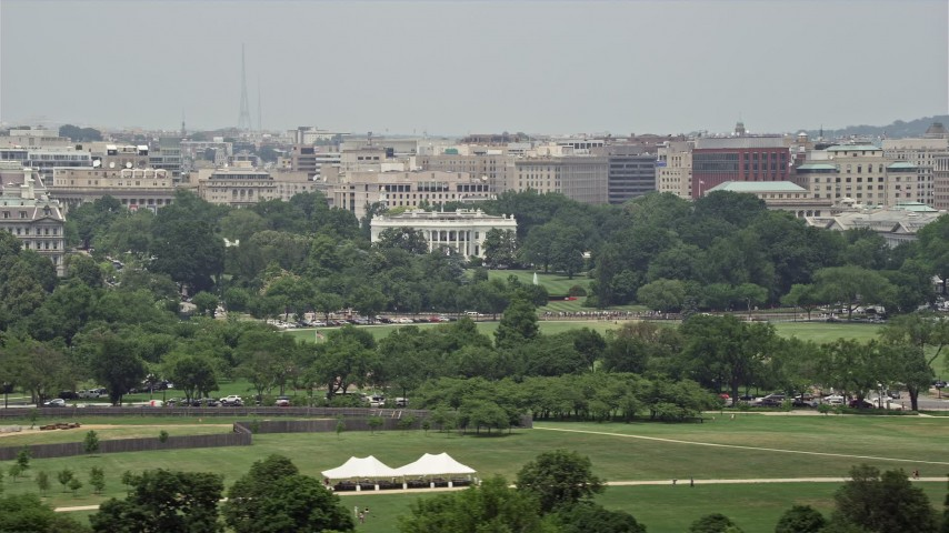 5K stock footage aerial video of The White House seen from across the National Mall in Washington DC Aerial Stock Footage | AX74_096