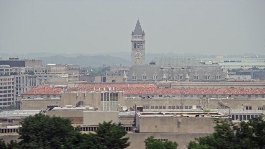 5K stock footage aerial video of the Old Post Office and Clock Tower in Washington DC Aerial Stock Footage   AX74_099
