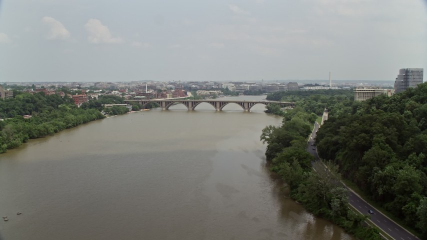 5K aerial video of Francis Scott Key Bridge spanning the Potomac River in Washington DC Aerial Stock Footage | AX74_103