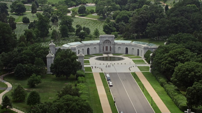 5K stock footage aerial video of the Women in Military Service for America Memorial at Arlington National Cemetery in Washington DC Aerial Stock Footage | AX74_110