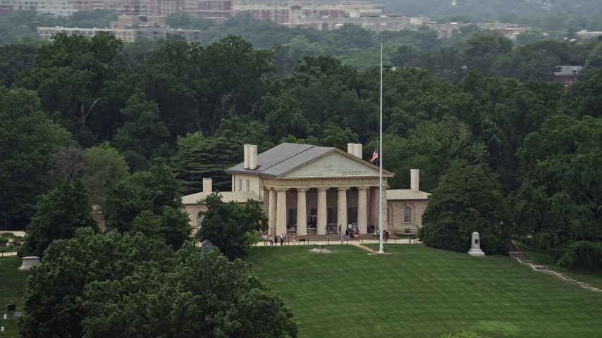 5K stock footage aerial video of tour groups on the front steps of Arlington House at Arlington National Cemetery, Washington DC Aerial Stock Footage | AX74_111