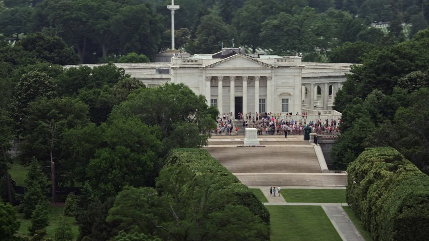 5K aerial video of tour groups at the Tomb of the Unknown Soldier at Arlington National Cemetery, Washington DC Aerial Stock Footage | AX74_112