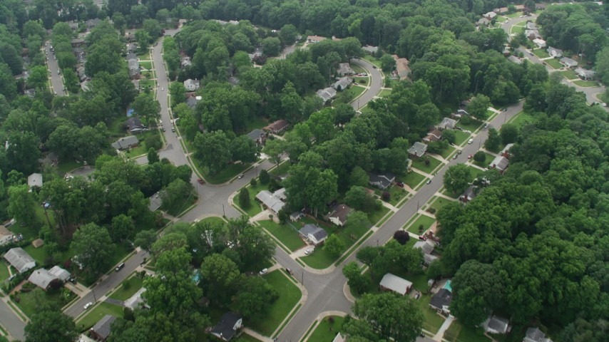 5K stock footage aerial video of a bird's eye view of suburban homes and I-495 in Springfield, Virginia Aerial Stock Footage | AX74_131
