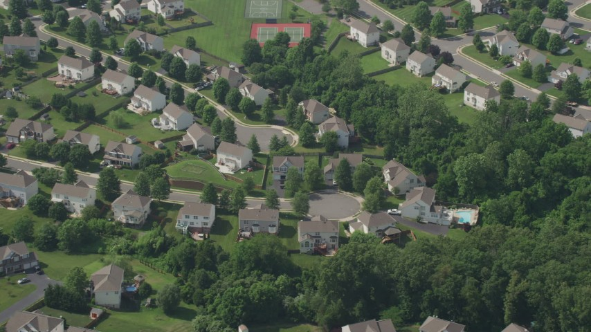 5K stock footage aerial video of a quiet suburban neighborhood in Manassas, Virginia Aerial Stock Footage | AX75_006